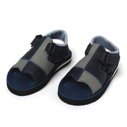 Welcro Strap Open Toe,2 Color Shield Patch Blue Grey - SC Baby