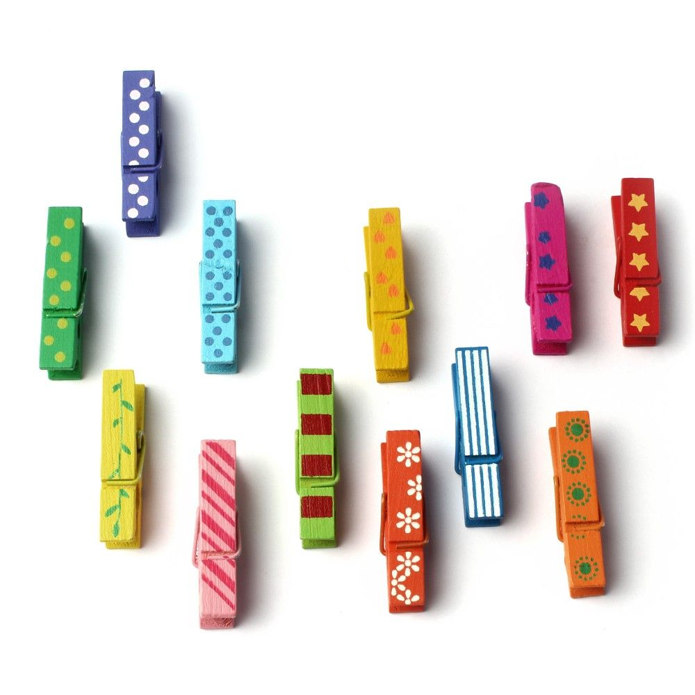 Colourful Wooden Paper Clips - Set Of 12 Clips - Diya