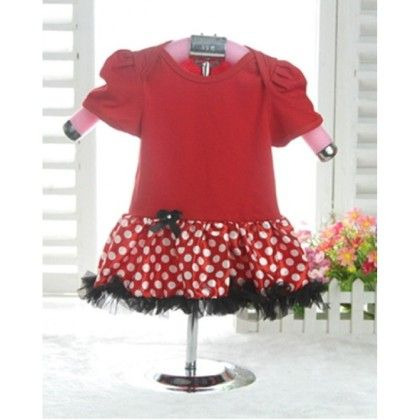 Cute Polka Dotted Frock For Baby Girls With Attached Romper - D'chica
