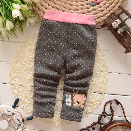 Cute Teddy Polka Dotted Baby Legging Warm Fleece Thick Liner Bottom- Gray - Jazzy Snazzy