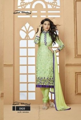 Light Green Floral Dress Material - Fashion Fiesta