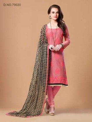 Thread Work With Mirror Work & Printed Dupatta - Pink - Touch Trends Ethnic