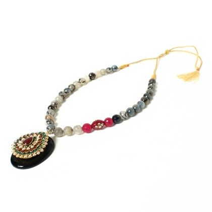 Agate Beads And Kundan Work Stone Pendant - Latitude - The Design Studio