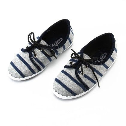 Shos With Stripe And Lace-blue - Gift Shoes