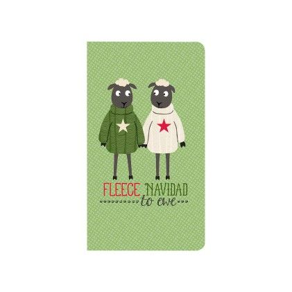 "4-pack Folio Style Christmas Cards & Envelopes ""fleece Navidad To Ewe"" - CR Gibson"