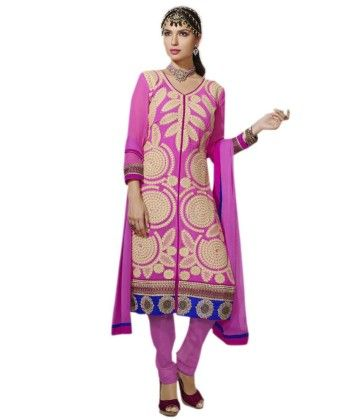 Pink Embroideried Dress Material - Touch Trends Ethnic