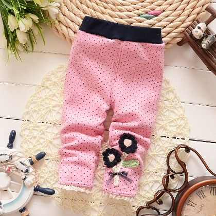 Floral Applique Baby Legging Warm Fleece Thick Liner Bottom- Pink - Jazzy Snazzy