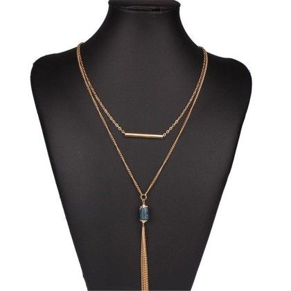 Double Tassel Necklace Gold Plated Long Design Gift Necklace - Blue - Beautyshow