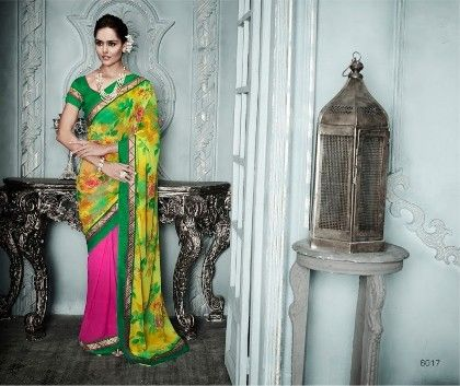 Green Pink Floral Printed Saree - Fashion Fiesta