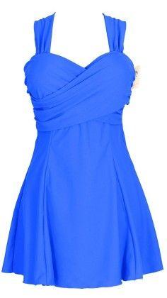 Crossover One Piece Swimdress Swimsuit - Sapphire Blue - HengJia
