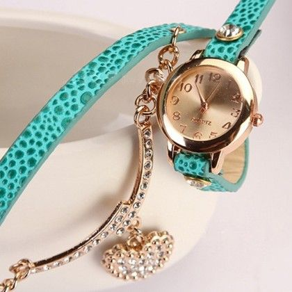 Rhinstone Faux Leather Wrap Bracelet Quartz Watch With Heart Pendant - Light Blue - Broadfashion