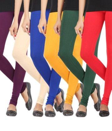 Elance Combo Leggings - Purple,cream,royal Blue,gold,bottle Green,red