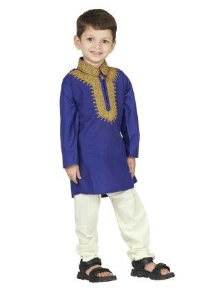Embroidered Kurta Pyjama Set - Blue - BownBee