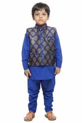 Kurta, Waistcoat And Pyjama Set -blue - Kids On Board
