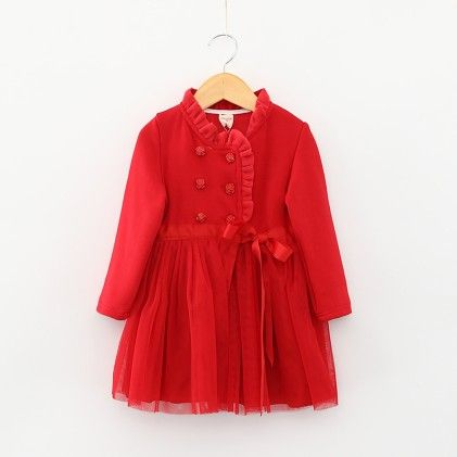 Red Winter Cross Collar  Party Frock - Lil Mantra