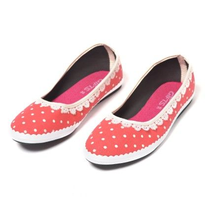 Toddler- Peach Shoes With White Dots And Crochet Lace - Gift Shoes