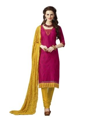 Magenta Embroideried Dress Material - Touch Trends Ethnic - 190018