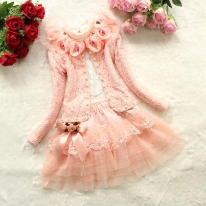 Light Peach With Rosette Winter Party Frock - Lil Mantra