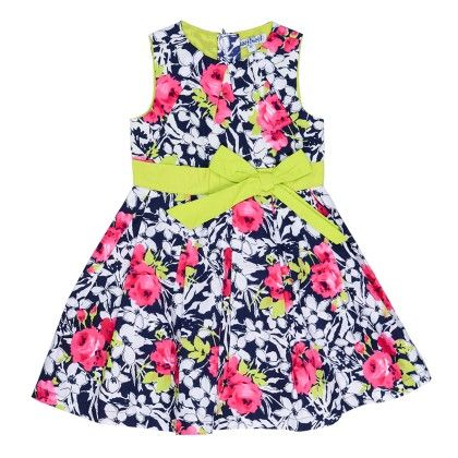 Box Pleated Dress In Floral Print With Contrast Bow - Navy - Nauti Nati