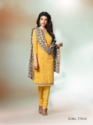 All Over Resham Thread Work With Mirror Work & Ready Lace Yellow - Touch Trends Ethnic