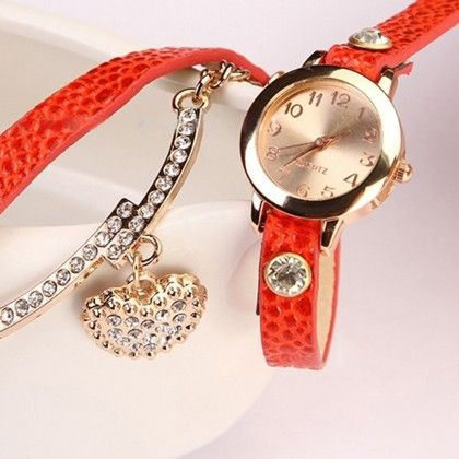 Rhinstone Faux Leather Wrap Bracelet Quartz Watch With Heart Pendant - Orange - Broadfashion