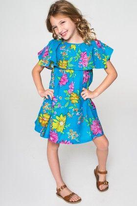 Blue Floral Layered Dress - Toddler & Girls - Yo Baby