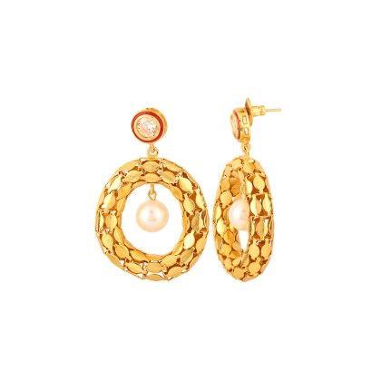 Voylla Yellow Gold Toned Pair Of Earrings With Meenakari Work