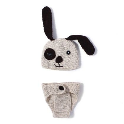 Crochet Knit Puppy Dog Costume Set Photo Prop - NeedyBee