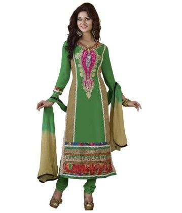 Green Embroideried Dress Material - Touch Trends Ethnic