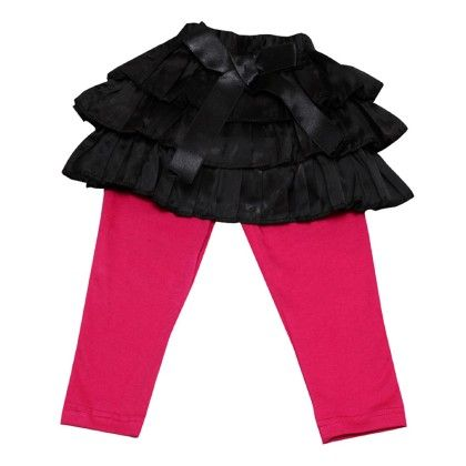 Black Frilly Satin Skirt For Baby Girls With Ribbon Bow With Leggings - D'chica