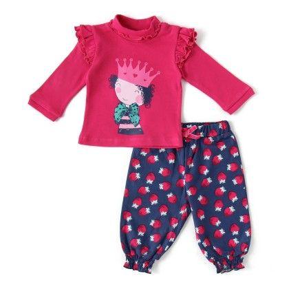 Set Of 2 Longsleeve T-shirt & Long Pants -dk.pink - WWW