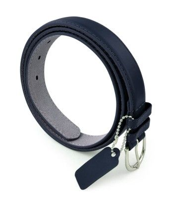 Leather Belt With Metal Buckle- Navy - Belle Donne