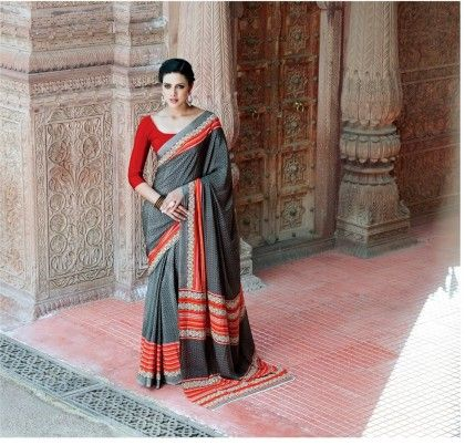 Gray Border Printed Saree - Fashion Fiesta