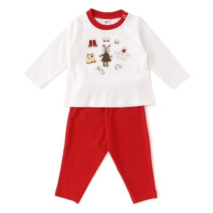 Teddy With Cap, Boots, Print, Full Sleeves Set - White  /red - ZERO