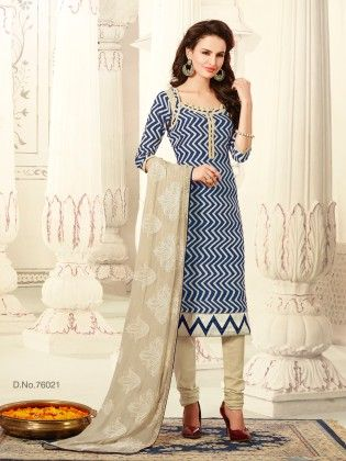 Resham Embroidery Thread Work With All Over Zigzag Print Top - Touch Trends Ethnic