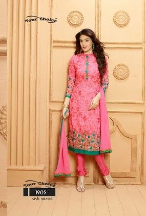 Pink Floral Dress Material - Fashion Fiesta