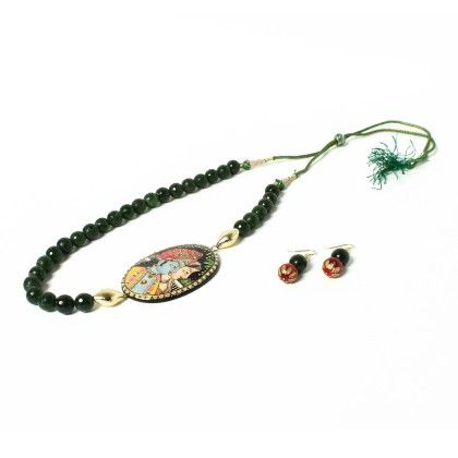 Krishna Radha Pendant Necklace With Ear Rings Green - Latitude - The Design Studio