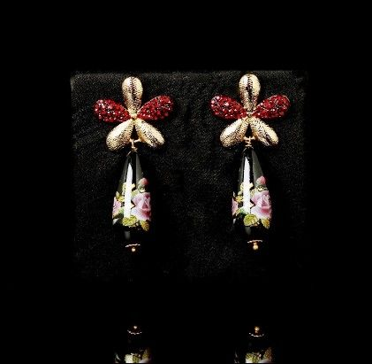 Black Floral Print Earrings - Trends