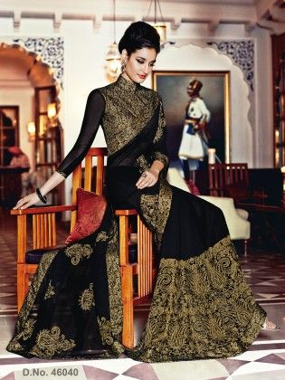 Contrast Designer Lakhnavi Chain Stitch Work With Brocade Lace - Touch Trends Ethnic