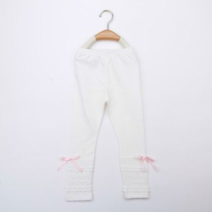White Legging With Pink Ribbon - Jazzy Snazzy
