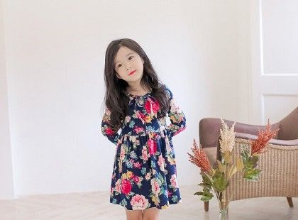 Blue Floral Print Dress - Sassy Girl