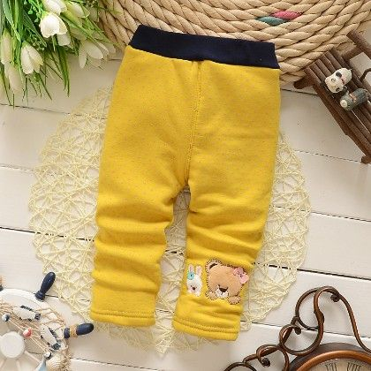 Cute Teddy Polka Dotted Baby Legging Warm Fleece Thick Liner Bottom- Yellow - Jazzy Snazzy