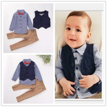 Boys 3 Piece Party Wear Set - Shirt With Bow, Trouser And Jacket - Petite Kids