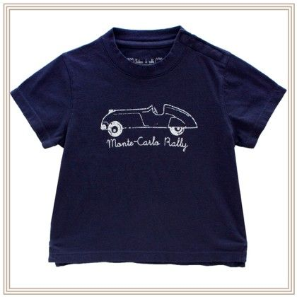 Auguste Boy T-shirt W/car Print Navy - Chateau De Sable
