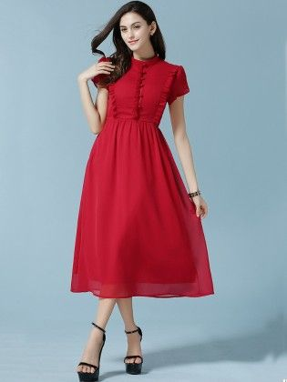 Red Stand Collar Fungus Rouge Chiffon Dress - She In