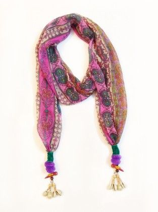 Chiffon Printed Shells And Parrot Jewelled Ethnic Scarf - Lime