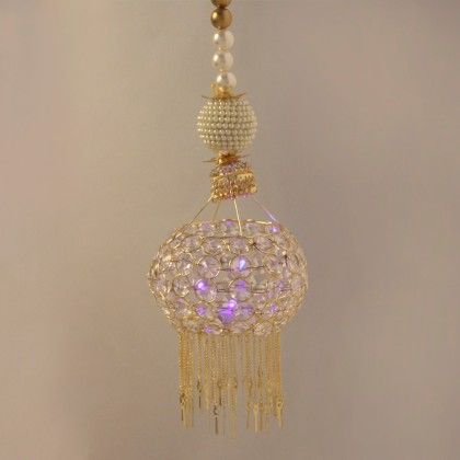Crystal Jhoomar With Battery Operated Lamp Hanging - Sugar Candy