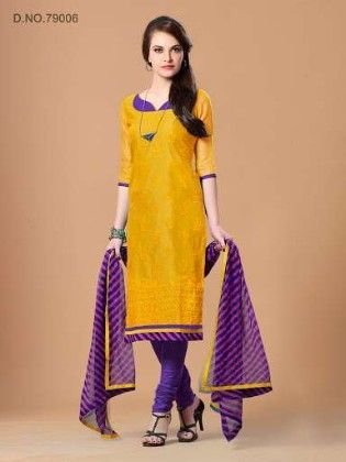 Sober Resham Embroidery Work With Contrast Ready Lace - Yellow - Touch Trends Ethnic
