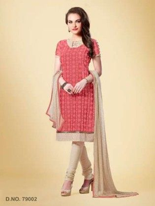 All Over Resham Embroidery Work With Printed Dupatta - Carrot Red - Touch Trends Ethnic