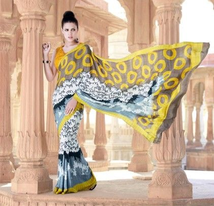 Vintage Yellow Printed Saree - Fashion Fiesta